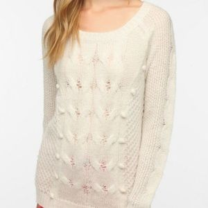 Urban Outfitters Bobbie Cable Knit Cream Sweater